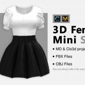 Female Mini Skirt+ FBX + OBJ + Zprj File